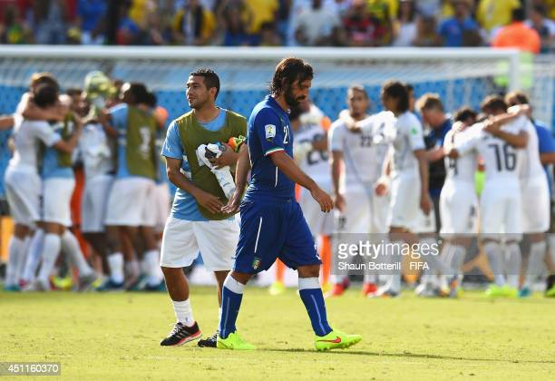 Andrea Pirlo of Italy walks off the pitch after the 01 defeat in the 2014 FIFA World Cup Brazil Group D match between Italy and Uruguay at Estadio...