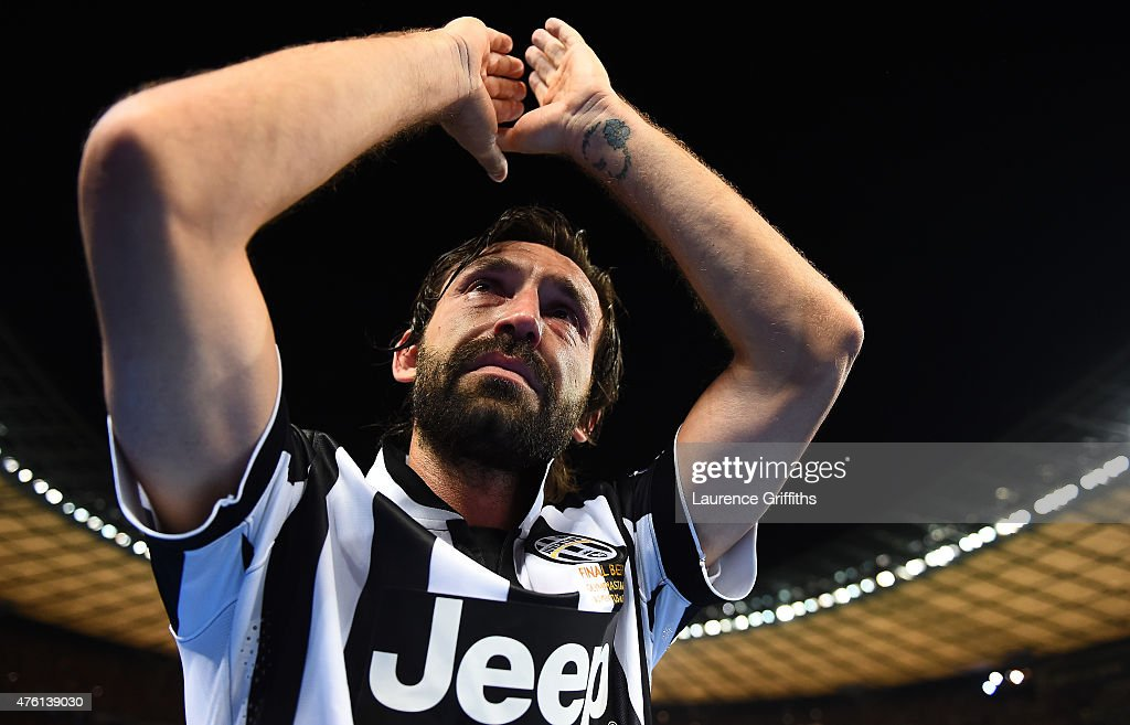 <a gi-track='captionPersonalityLinkClicked' href=/galleries/search?phrase=Andrea+Pirlo&family=editorial&specificpeople=198835 ng-click='$event.stopPropagation()'>Andrea Pirlo</a> of Juventus applauds the fans after the UEFA Champions League Final between Juventus and FC Barcelona at Olympiastadion on June 6, 2015 in Berlin, Germany.