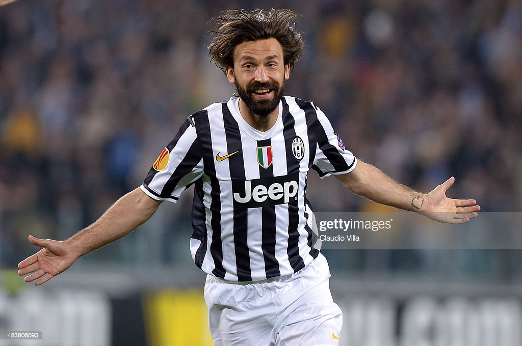 <a gi-track='captionPersonalityLinkClicked' href=/galleries/search?phrase=Andrea+Pirlo&family=editorial&specificpeople=198835 ng-click='$event.stopPropagation()'>Andrea Pirlo</a> of Juventus celebrates scoring the first goal during the UEFA Europa League quarter final match between Juventus and Olympique Lyonnais at Juventus Arena on April 10, 2014 in Turin, Italy.