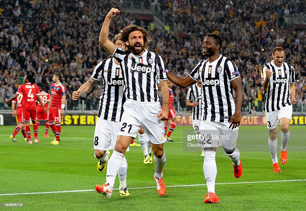 Andrea Pirlo of Juventus #21 celebrates scoring the first goal during the UEFA Europa League quarter final match between Juventus and Olympique Lyonnais at Juventus Arena on April 10, 2014 in Turin, Italy.