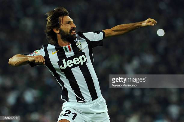 Andrea Pirlo of Juventus FC celebrates after scoring the opening goal during the Serie A match between Juventus FC and AS Roma at Juventus Arena on...