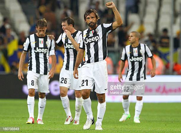 Andrea Pirlo of Juventus FC celebrates his goal during the Serie A match between Juventus and Parma FC at Juventus Arena on August 25 2012 in Turin...