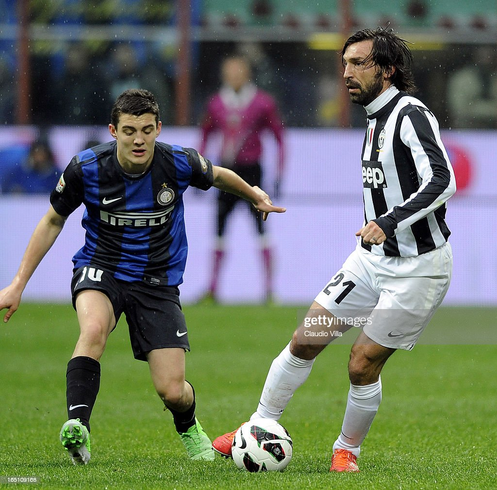 Andrea Pirlo of Juventus FC in action during the Serie A match between FC Internazionale Milano and Juventus FC at San Siro Stadium on March 30, 2013 in Milan, Italy.