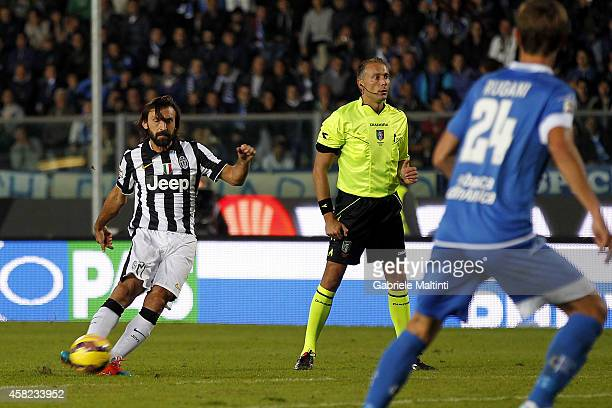 Andrea Pirlo of Juventus FC scores the opening goal during the Serie A match between Empoli FC and Juventus FC at Stadio Carlo Castellani on November...