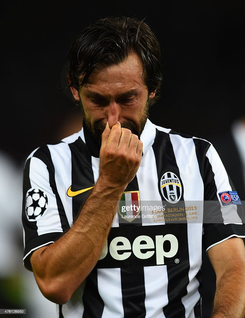 <a gi-track='captionPersonalityLinkClicked' href=/galleries/search?phrase=Andrea+Pirlo&family=editorial&specificpeople=198835 ng-click='$event.stopPropagation()'>Andrea Pirlo</a> of Juventus looks dejected after the UEFA Champions League Final between Juventus and FC Barcelona at Olympiastadion on June 6, 2015 in Berlin, Germany.