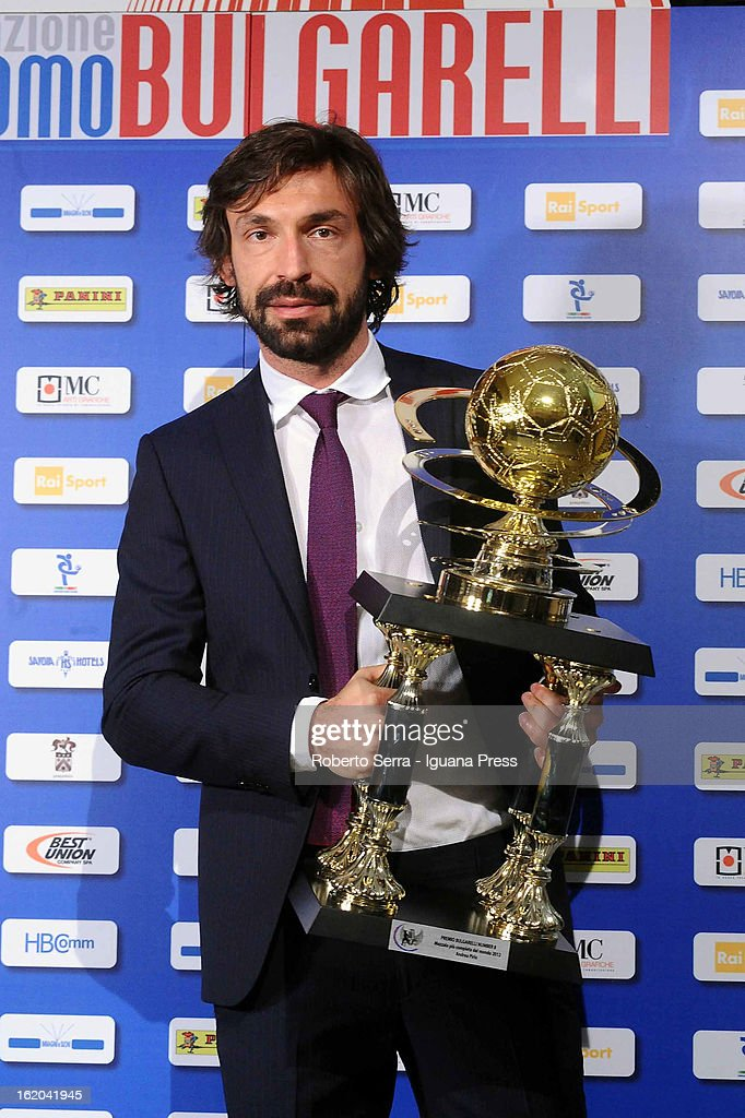 <a gi-track='captionPersonalityLinkClicked' href=/galleries/search?phrase=Andrea+Pirlo&family=editorial&specificpeople=198835 ng-click='$event.stopPropagation()'>Andrea Pirlo</a> of Juventus poses after being awarded the Giacomo Bulgarelli #8 Award at Hotel Savoy on February 18, 2013 in Bologna, Italy.