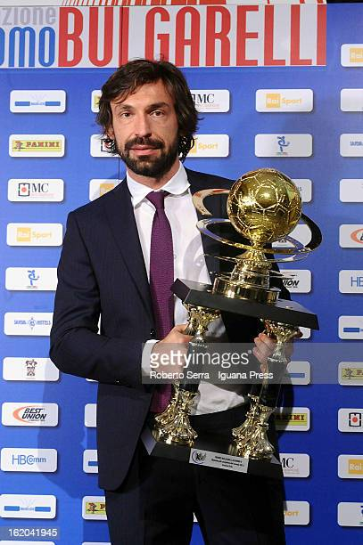 Andrea Pirlo of Juventus poses after being awarded the Giacomo Bulgarelli Award at Hotel Savoy on February 18 2013 in Bologna Italy