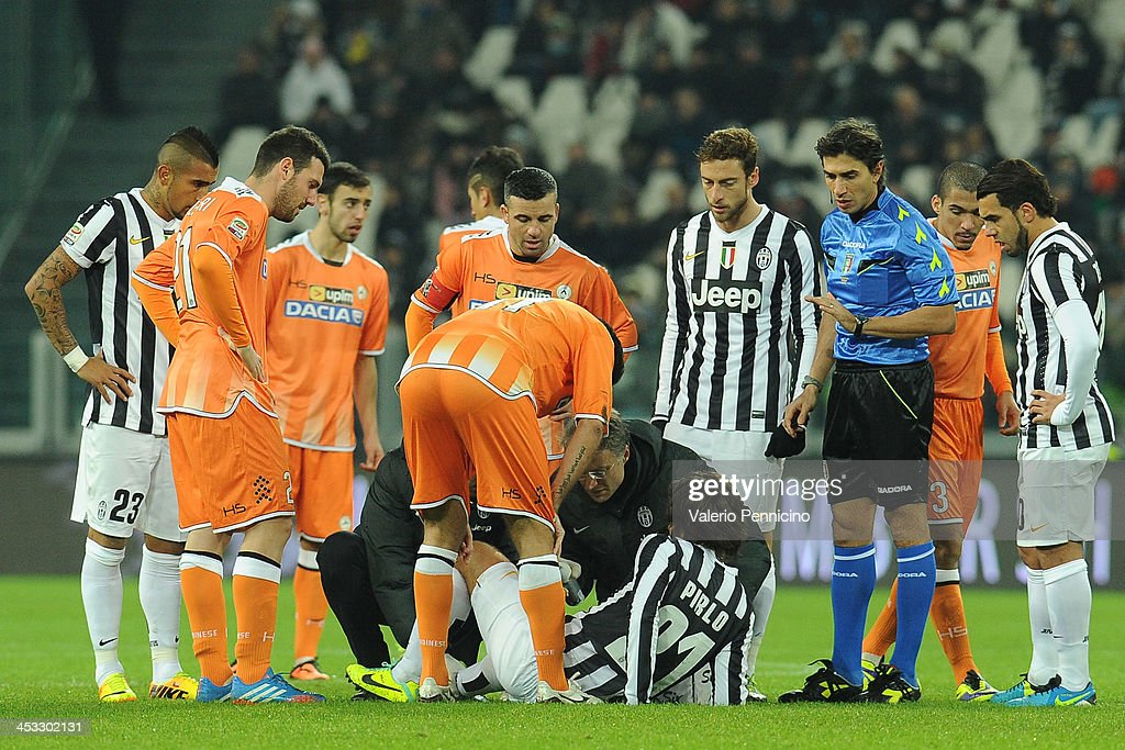 Andrea Pirlo of Juventus receives treatment during the Serie A match between Juventus and Udinese Calcio at Juventus Arena on December 1, 2013 in Turin, Italy.