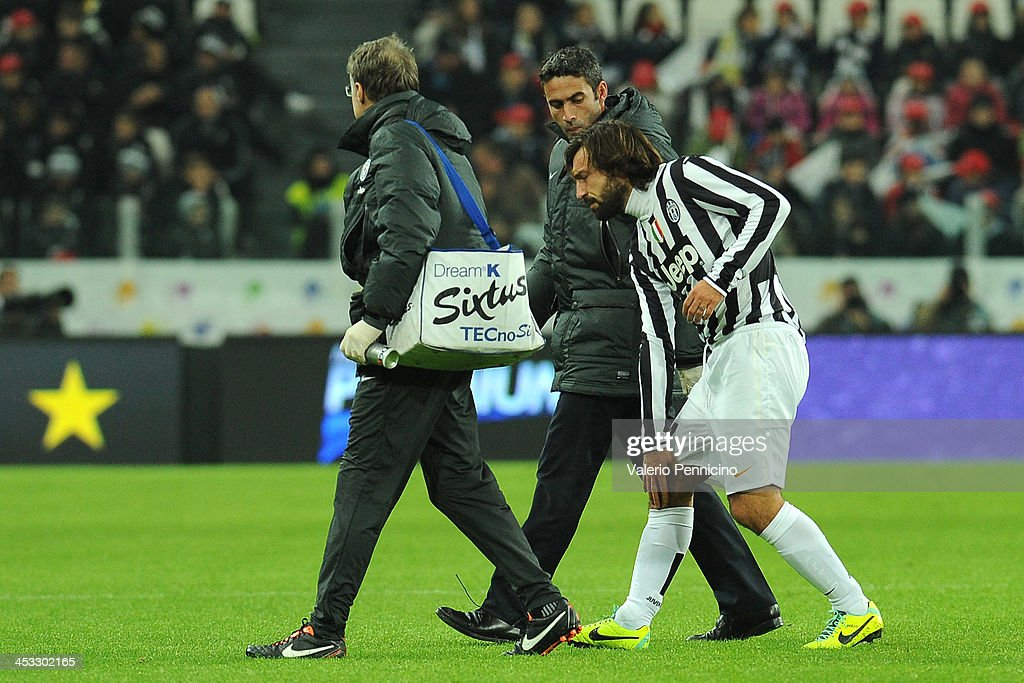 Andrea Pirlo of Juventus walks off with an injury during the Serie A match between Juventus and Udinese Calcio at Juventus Arena on December 1, 2013 in Turin, Italy.