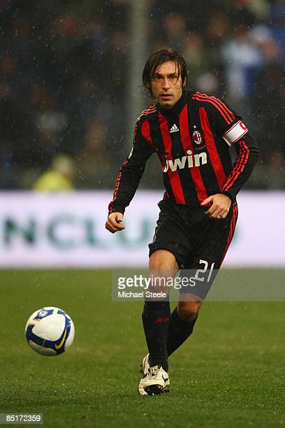 Andrea Pirlo of Milan during the Serie A match between Sampdoria and AC Milan at the Stadio Luigi Ferraris on March 1 2009 in GenoaItaly