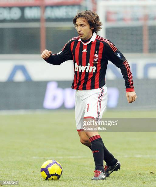 Andrea Pirlo of Milan in action during the Serie A match between Milan and Siena at Stadio Giuseppe Meazza on January 17 2010 in Milan Italy
