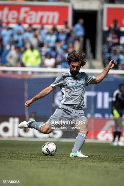 Andrea Pirlo of New York City FC clears the ball during the MLS match between New York City FC vs Orlando City SC on April 23 2017 at Yankee Stadium...