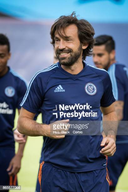 Andrea Pirlo of New York City FC during warm ups prior to the MLS match between New York City FC and Columbus Crew at Citi Field on October 22 2017...