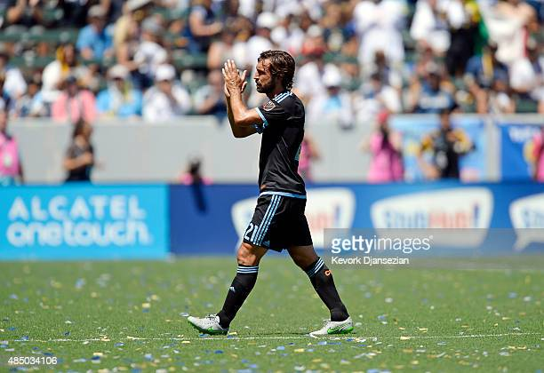 Andrea Pirlo of New York City FC is substituted during the second half against of Los Angeles Galaxy at StubHub Center August 23 in Carson California