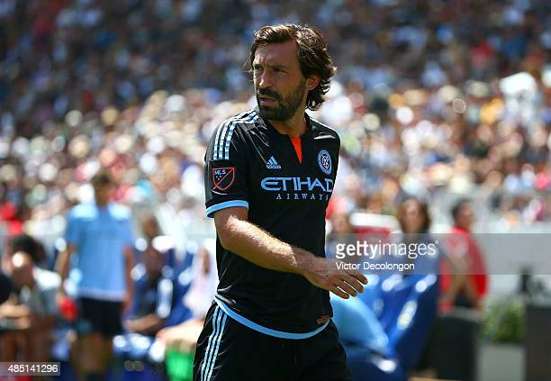 Andrea Pirlo of New York City FC looks to the goal box prior to taking a corner kick in the first half during the MLS match against the Los Angeles...