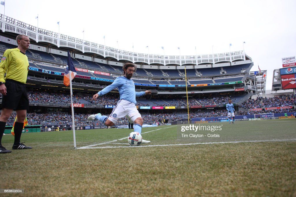 Andrea Pirlo #21 of New York City FC takes a corner during the New York City FC Vs San Jose Earthquakes regular season MLS game at Yankee Stadium on April 1, 2017 in New York City.