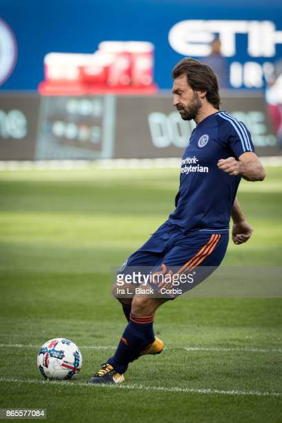 Andrea Pirlo of New York City FC takes a shot on goal during warm ups prior to the MLS match between New York City FC and Columbus Crew at Citi Field...