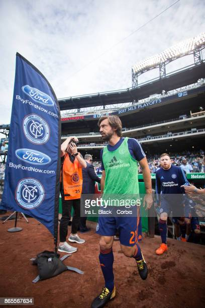 Andrea Pirlo of New York City FC walks out onto the field for warm ups during the MLS match between New York City FC and Columbus Crew at Citi Field...