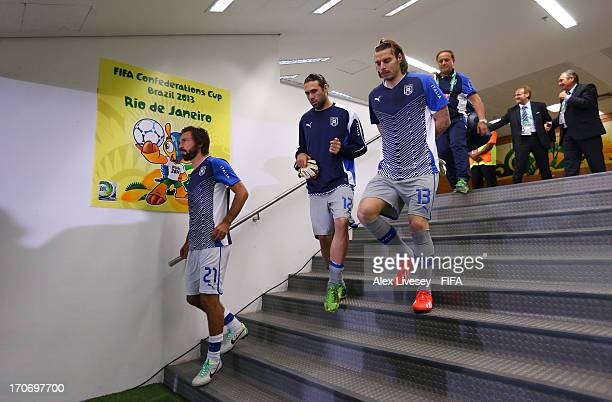 Andrea Pirlo Salvatore Sirigu and Federico Marchetti of Italy walk to the pitch for a warm up prior to the FIFA Confederations Cup Brazil 2013 Group...