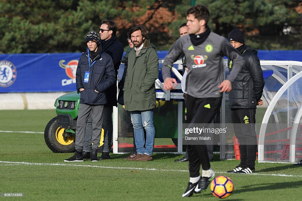 Andrea Pirlo watches during a training session at Chelsea Training Ground on December 9, 2016 in Cobham, England.