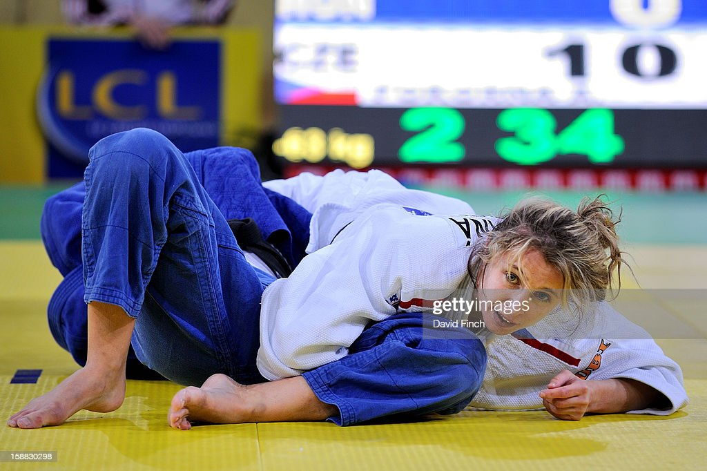 Andrea Pokorna of Czechoslovakia (white) defeated Brigitta Szabo of Hungary with this hold for a yuko (5 points) during the 63kgs eliminations at the Paris Tournament on day 1, Saturday, February 09, 2008 at the Palais Omnisports de Paris Bercy Sports Arena, Bercy, Paris, France.
