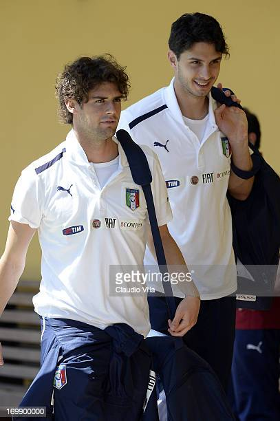 Andrea Poli and Andrea Ranocchia attend an Italy training session at Coverciano on June 04 2013 in Florence Italy