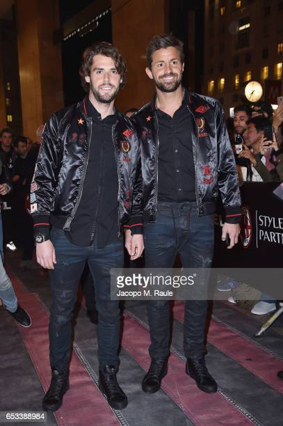Andrea Poli and Marco Storari attend The New Bomber Presentation at the Diesel Store on March 14 2017 in Milan Italy