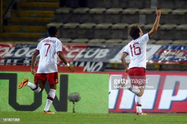 Andrea Poli of AC Milan celebrates after scoring a goal during the Serie A match between Bologna and AC Milan at Stadio Renato Dall'Ara on September...