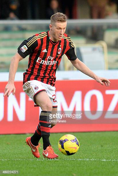 Andrea Poli of AC Milan in action during the Serie A match between AC Chievo Verona and AC Milan at Stadio Marc'Antonio Bentegodi on November 10 2013...