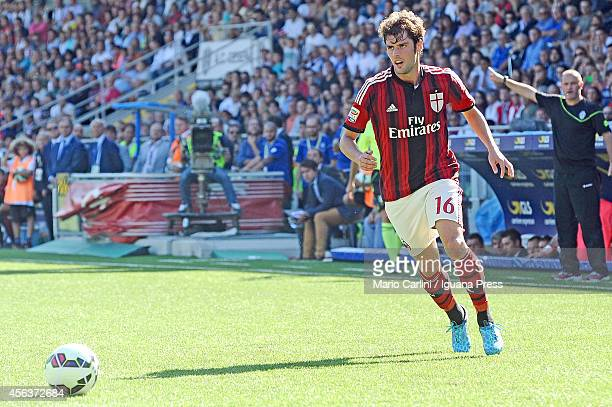 Andrea Poli of AC Milan in action during the Serie A match between AC Cesena and AC Milan at Dino Manuzzi Stadium on September 28 2014 in Cesena Italy