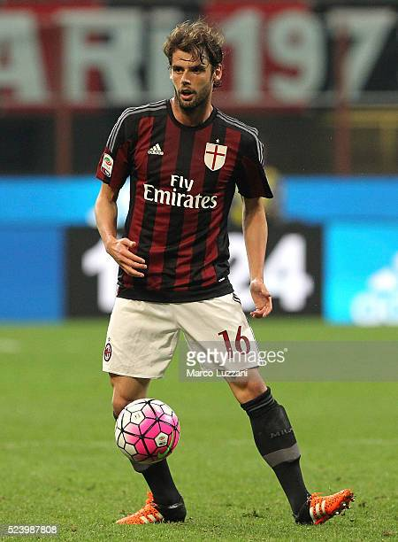 Andrea Poli of AC Milan in action during the Serie A match between AC Milan and Carpi FC at Stadio Giuseppe Meazza on April 21 2016 in Milan Italy