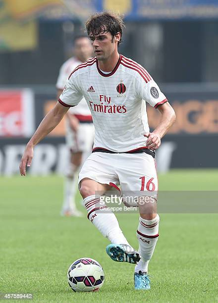 Andrea Poli of AC Milan in action during the Serie A match between Hellas Verona FC and AC Milan at Stadio Marc'Antonio Bentegodi on October 19 2014...