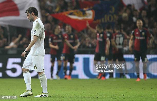 Andrea Poli of AC Milan shows his dejection during the Serie A match between Genoa CFC and AC Milan at Stadio Luigi Ferraris on October 25 2016 in...