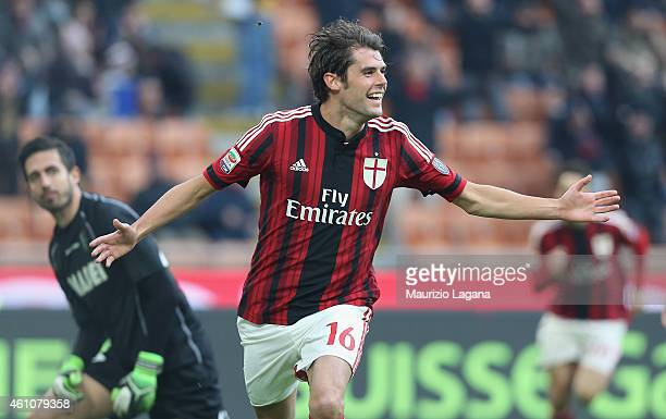 Andrea Poli of Milan celebrates after scoring the opening goal during the Serie A match between AC Milan and US Sassuolo Calcio at Stadio Giuseppe...