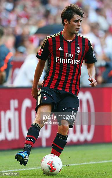 Andrea Poli of Milan controles the ball during the Audi Cup match between FC Sao Paulo and AC Milan at Allianz Arena on August 1 2013 in Munich...