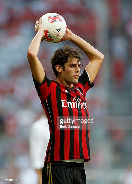 Andrea Poli of Milan takes the throwin during the Audi Cup 2013 third place match between FC Sao Paulo and AC Milan at Allianz Arena on August 1 2013...