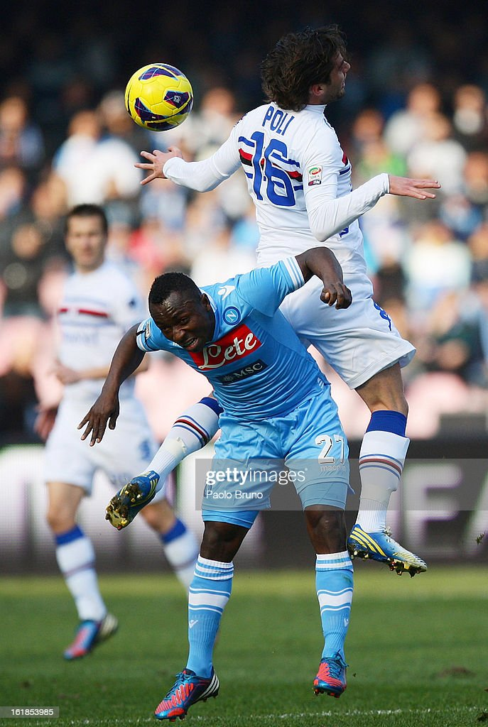Andrea Poli of UC Sampdoria (top) clashes with Pablo Armero of SSC Napoli during the Serie A match between SSC Napoli and UC Sampdoria at Stadio San Paolo on February 17, 2013 in Naples, Italy.