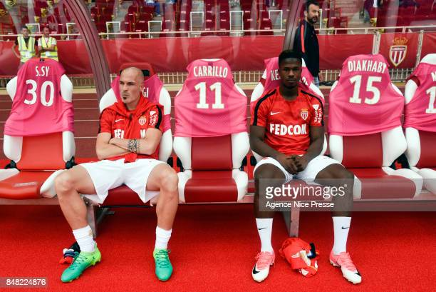 Andrea Raggi and Balde Keita of Monaco during the Ligue 1 match between AS Monaco and Strasbourg at Stade Louis II on September 16 2017 in Monaco