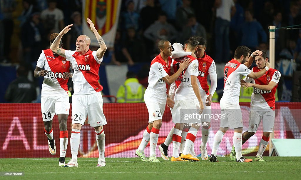 Andrea Raggi of Monaco celebrates with teammates the goal of Bernardo Silva of Monaco during the French Ligue 1 match between AS Monaco FC v...