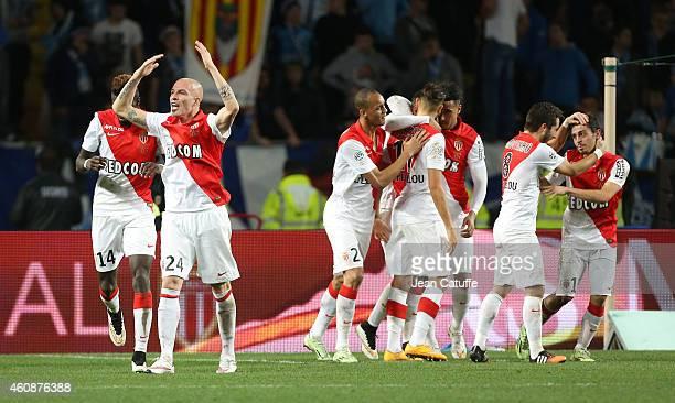Andrea Raggi of Monaco celebrates with teammates the goal of Bernardo Silva of Monaco during the French Ligue 1 match between AS Monaco FC v...