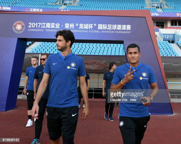 Andrea Ranocchia and Jeison Murillo of FC Internazionale look on before the press conference on July 20 2017 in Changzhou China