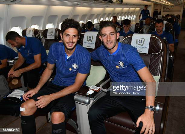 Andrea Ranocchia and Roberto Gagliardini of FC Internazionale arrive with the team at Malpensa International Airport to depart to Nanjing...