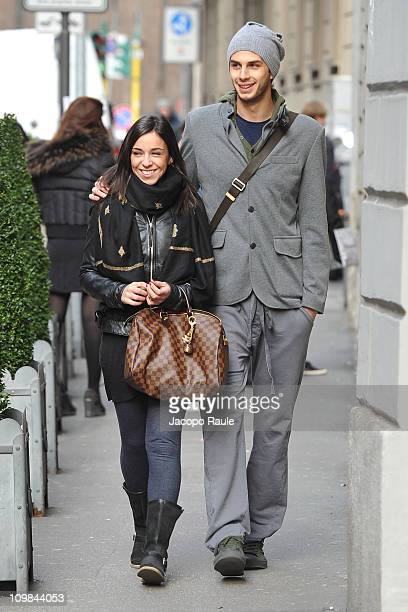 Andrea Ranocchia and Silvia are seen on March 7 2011 in Milan Italy