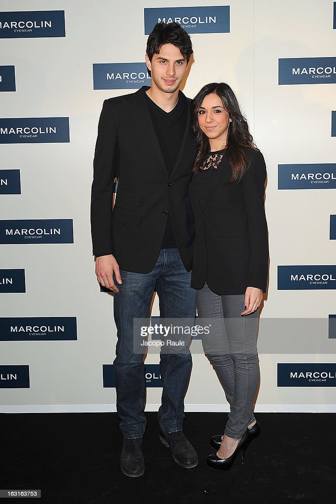 Andrea Ranocchia and Silvia attend Marcolin Hosts 'Sguardi d'Atelier' Exhibition on March 5, 2013 in Milan, Italy.