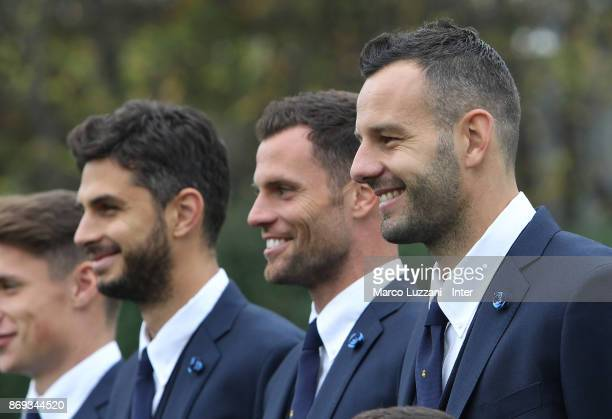 Andrea Ranocchia Daniele Padelli and Samir Handanovic of FC Internazionale back stage during the FC Internazionale Official Photoshoot at the club's...