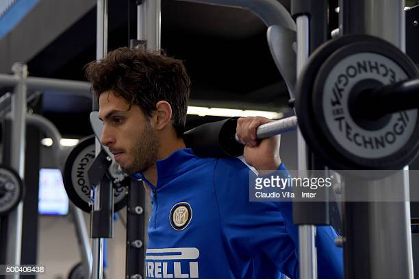 Andrea Ranocchia in action during the FC Internazionale training session at the club's training ground at Appiano Gentile on December 08 2015 in Como...