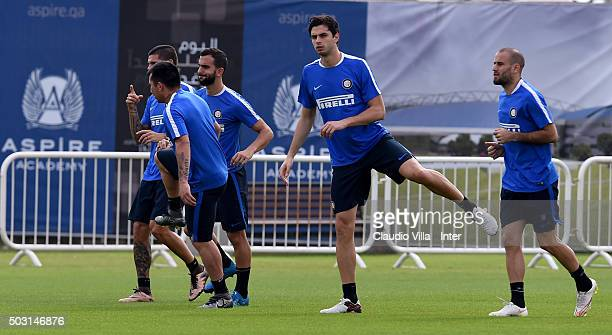Andrea Ranocchia in action during the FC Internazionale training session at Aspire on January 02 2016 in Doha Qatar