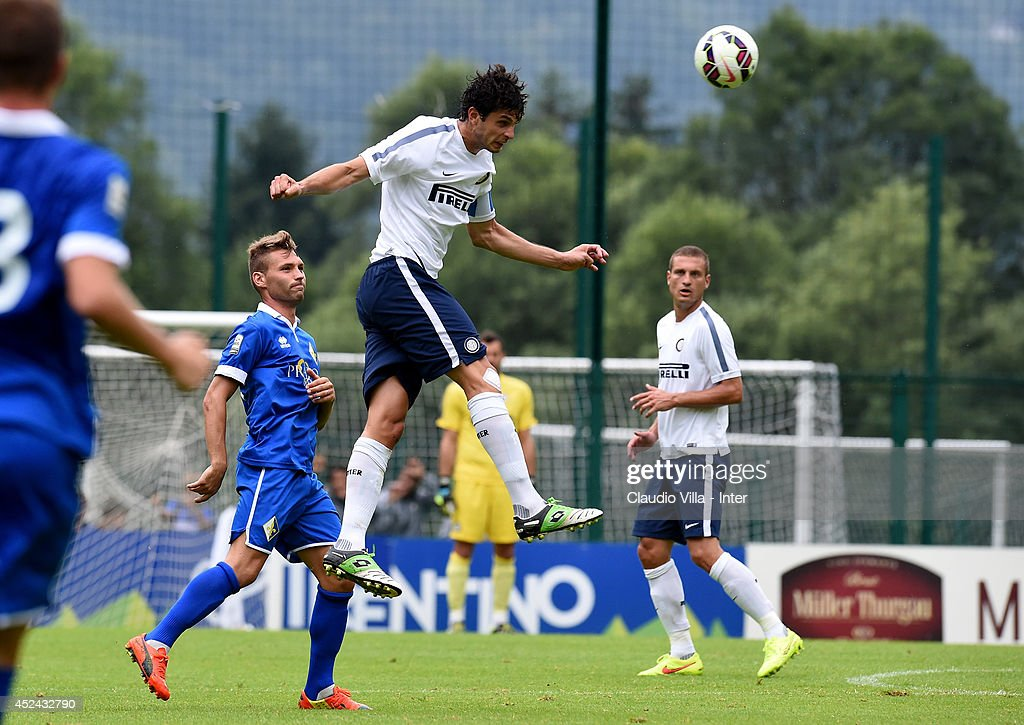 Andrea Ranocchia in action during the pre-season friendly match between FC Internazionale and AC Prato on July 20, 2014 in Pinzolo near Trento, Italy.