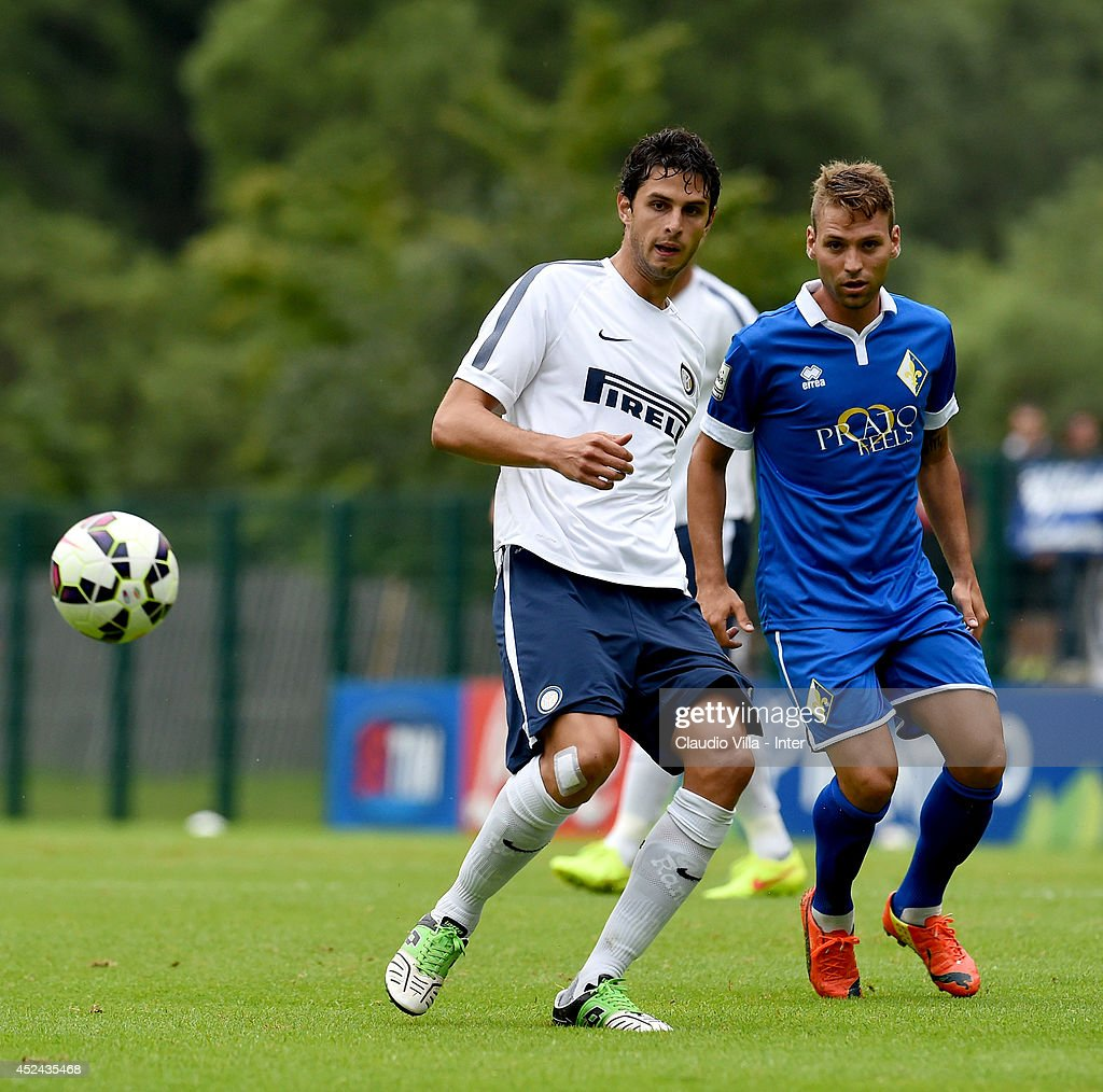 <a gi-track='captionPersonalityLinkClicked' href=/galleries/search?phrase=Andrea+Ranocchia&family=editorial&specificpeople=4085825 ng-click='$event.stopPropagation()'>Andrea Ranocchia</a> in action during the pre-season friendly match between FC Internazionale and AC Prato on July 20, 2014 in Pinzolo near Trento, Italy.