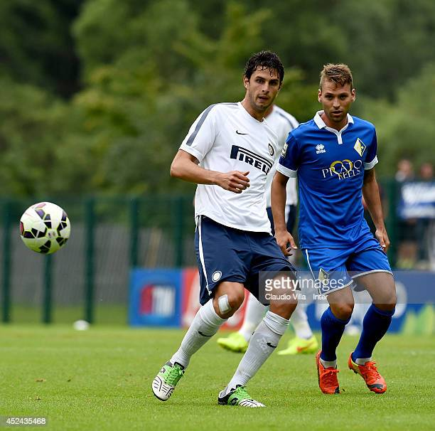 Andrea Ranocchia in action during the preseason friendly match between FC Internazionale and AC Prato on July 20 2014 in Pinzolo near Trento Italy